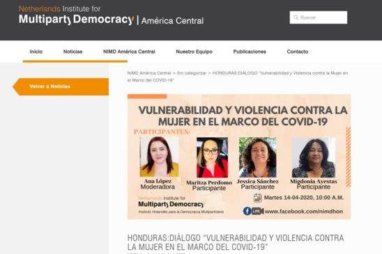 """HONDURAS:DIÁLOGO """"VULNERABILIDAD Y VIOLENCIA CONTRA LA MUJER EN EL MARCO DEL COVID-19"""""""